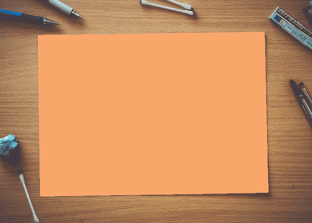 In this example, we change the white color of a blank sheet of paper with the orange color. As the paper isn't perfectly white, we match 7% of similar white color tones to make sure the entire sheet gets replaced.