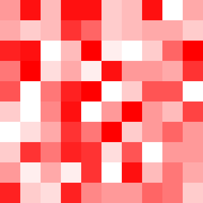 This example generates a random, semi-transparent PNG of size 400x400px with each unit of 40px. It uses red as primary color and uses 16 transparency values from 0 to 255 for its alpha channel.
